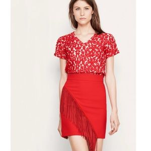 Maje T-Shirt Trompette in Red Lace
